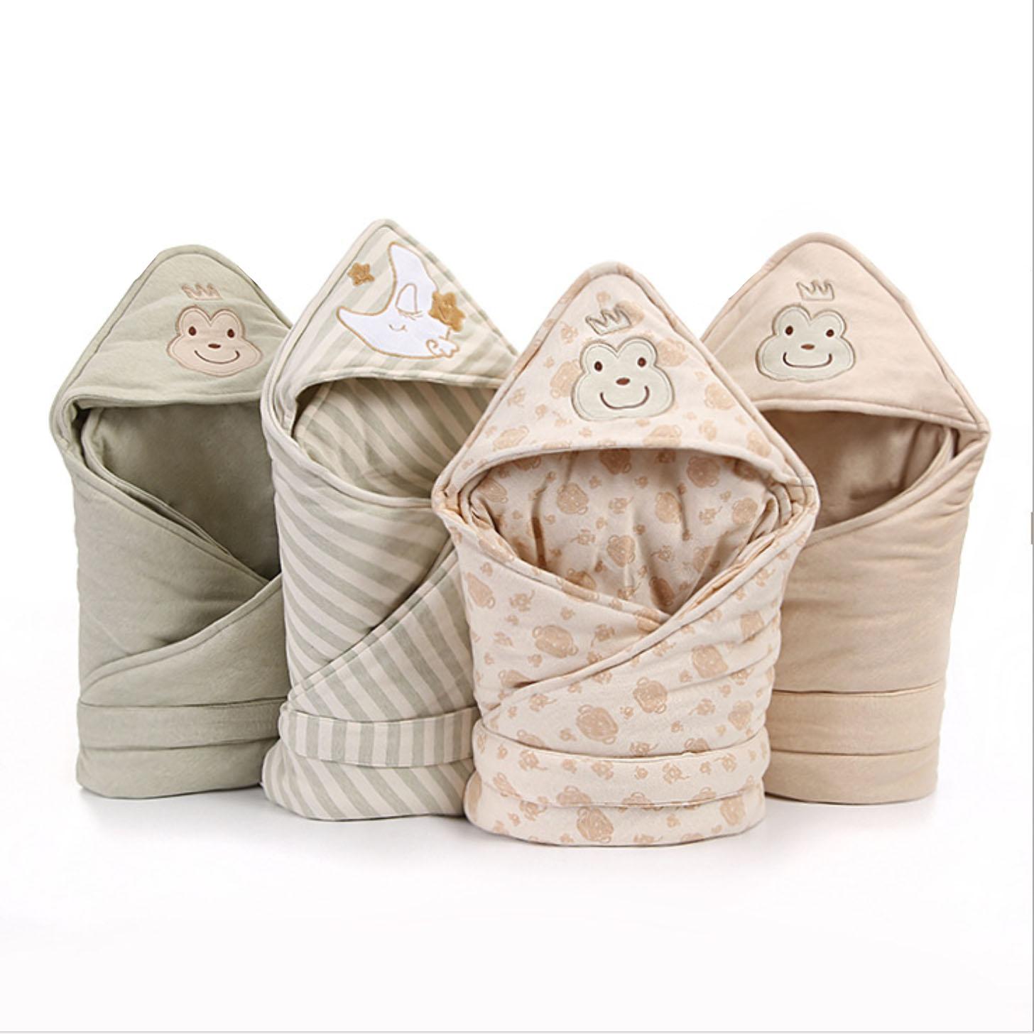 海娜森婴儿彩棉抱被春夏款新生儿包被秋冬季抱毯加厚纯棉宝宝用品
