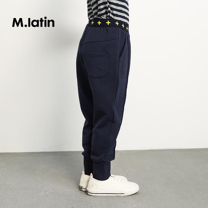 马拉丁童装女童针织裤秋装2018新款图案弹力运动收口长裤儿童裤子