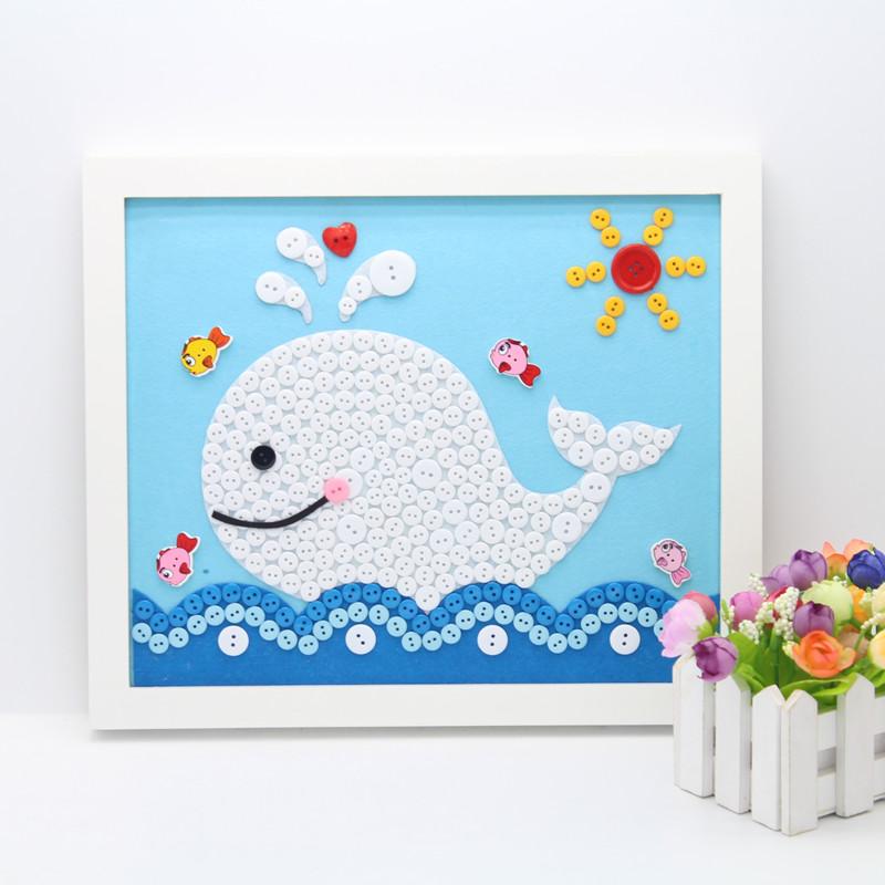 送相框小学生儿童纽扣画手工作品diy材料包幼儿园亲子制作粘贴画
