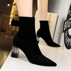 1718-3 in Europe and the us winter fashion simple thick with crystal with sexy high-heeled suede tines nightclub show th