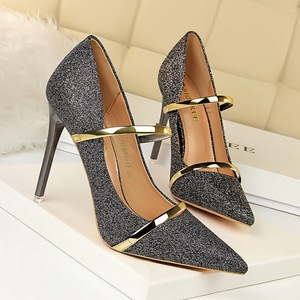 9511-19 European and American wind sexy high-heeled shoes lighter point sequins cloth nightclub show tall with one word