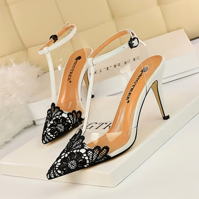 968-1 han edition style banquet transparent barefoot shoes high heel with lace pointed T with sandals, high heels