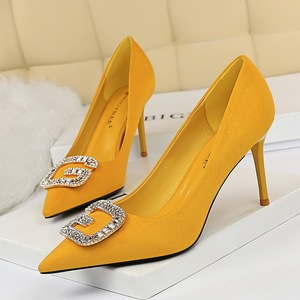 963-2 han edition fashion sexy party with suede shoes fine shallow mouth pointed high with diamond metal buckle shoes