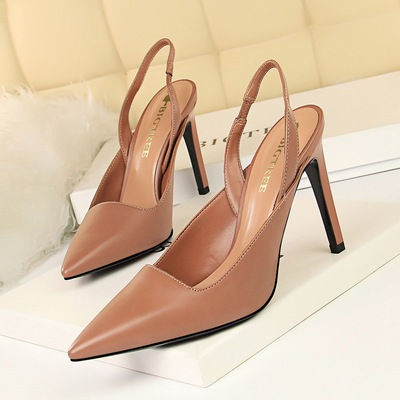 6875-2 the European and American wind fashion high heel with shallow mouth pointed hollow out after strappy fashion prof