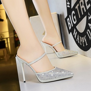 8902-2 sexy women's shoes in Europe and America with ultra fine with waterproof light mouth pointed diamond one wor