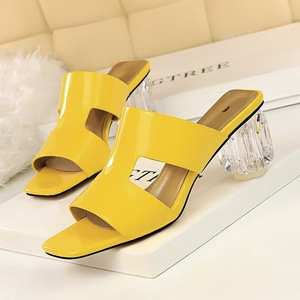 BM2 han edition fashion summer with patent leather shoes with transparent crystal thick with high tilefish mouth hollow