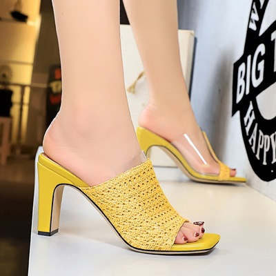 83-1 han edition fashion cool hollow out high-heeled slippers Bohemian hemp rope weaving word tilefish mouth slippers