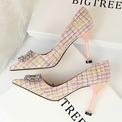 Han edition banquet high heels since 278-9 with cloth cover shallow mouth pointed sexy show thin metal diamond single sh
