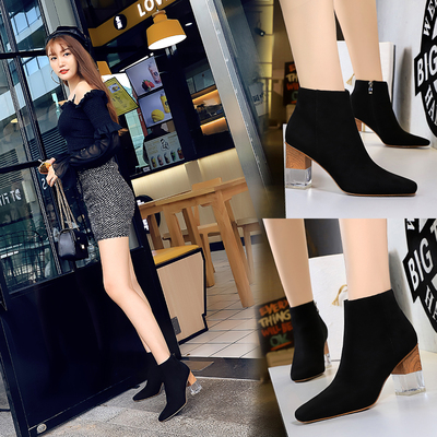 298-2 the European and American fashion color matching with thick with transparent crystal high-heeled suede lag sexy ni