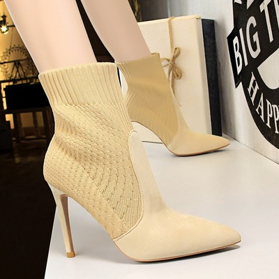315-3 han edition fashion high heel with pointed thin wool female boots sexy fashion short boots in winter