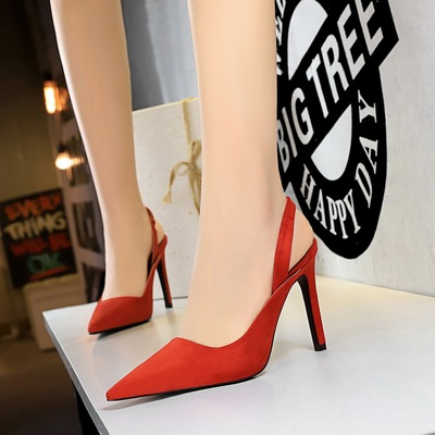 6875-1 the European and American fashion professional OL wind shoes high heel with suede shallow pointed mouth after str