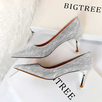825-B12 euramerican fashion wedding shoes with high heels for women's shoes metal high heel with shallow mouth po