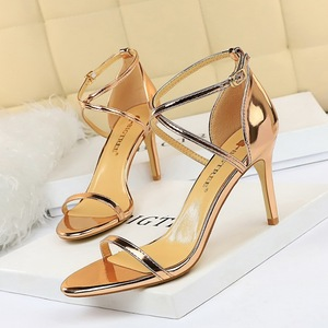 126-A8 European and American wind fashion sexy nightclub peep-toe metallic cross with fine with high heels sandals wom