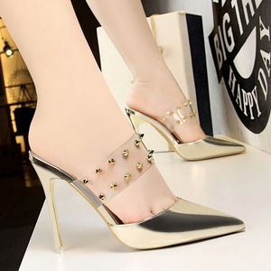 86-15 European and American fashion women's half wind drag high heel with shallow mouth hollow transparent one word