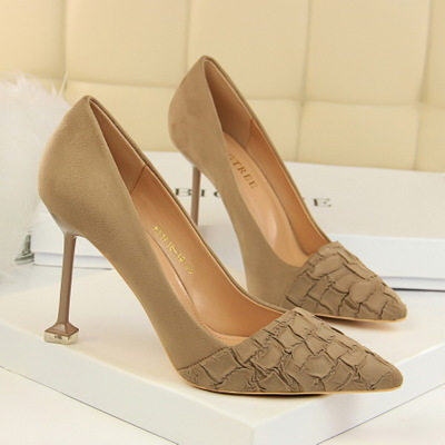 1716-19 han edition show thin shoes with high heels suede stone grain shallow mouth pointed sexy nightclub single shoe h