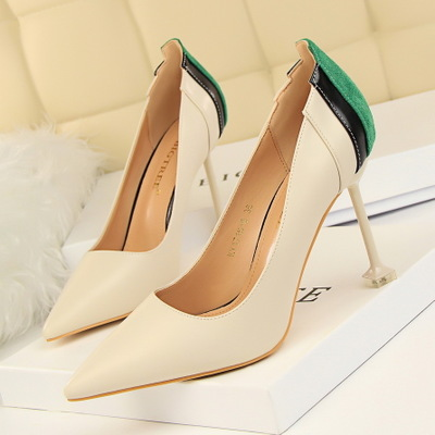 1716-8 han edition fashion contracted fine women's shoes with high heels show thin shallow color matching sexy mouth tin
