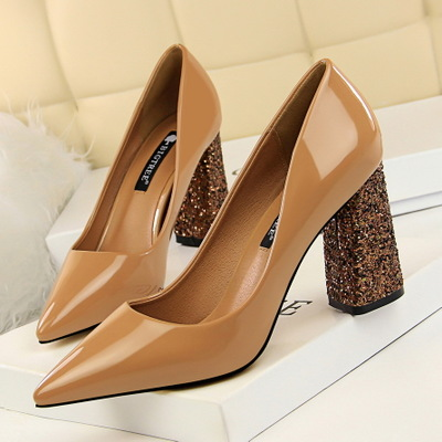 828-16 European and American wind for women's shoes with patent leather high heels sequins thick with shallow mouth poin