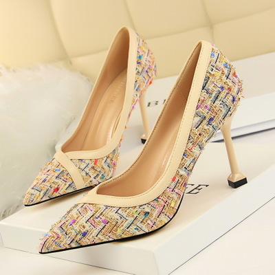 278-1 han edition sexy nightclub show thin thin high heels for women's shoes with high heels shallow pointed mouth color