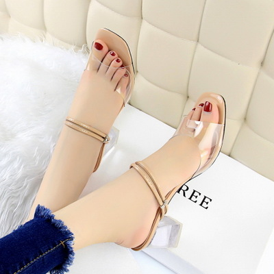 Han edition transparent crystal with high 169-1 with hollow out peep-toe diamond buckle decorates a transparent fish mou