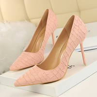 1716-11 han edition fashion show thin delicate high heels for women's shoes high heel with shallow mouth pointed stone grain single shoes