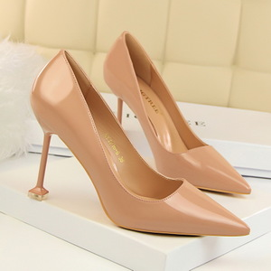 1716-6 han edition fashion contracted with patent leather high heel shallow mouth pointed sexy nightclub show thin singl