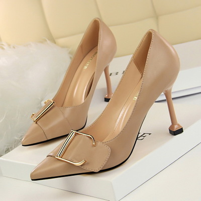 Han edition professional OL 278-3 high heels for women's shoes with shallow pointed mouth show thin sheet metal belt buc