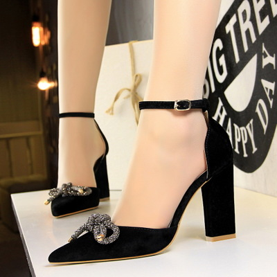 293-6 han edition fashion footwear coarse with high light suede mouth pointed hollow diamond bow a word with sandals