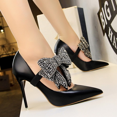 1717-9 han edition elegant high heels for women's shoes ultra light with mouth pointed a word with diamond bow sing