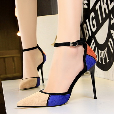 283-88 fashion high heel with shallow mouth pointed hollow sexy nightclub suede color matching one word wit