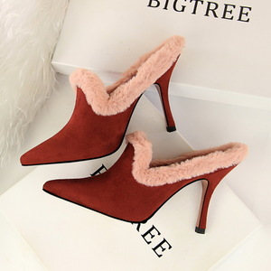 18126-1 han edition in the spring and autumn fashion designer shoes glass with high with suede pointed female half dragg