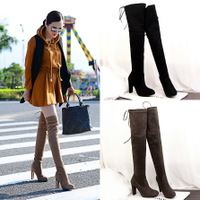 619-2 the European and American fashion contracted wind knight boots thick with high with round head thin knee-high boots suede sexy