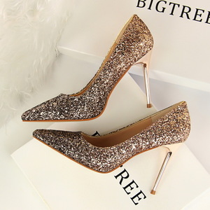 9219-10 European and American wind high shoes with shallow mouth pointed sexy thin nightclub color gradient sequined sho