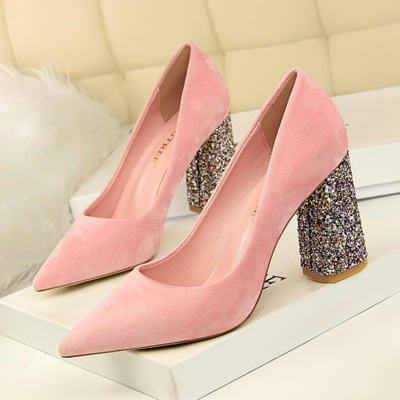 828-28 with suede high heels for women's shoes in Europe and America sequins thick with shallow pointed mouth show thin