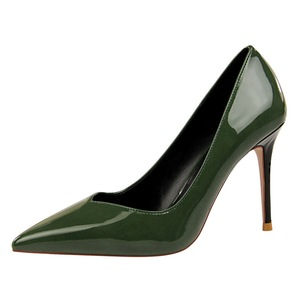 128-1 han edition fashion simple color matching with patent leather high heel shallow mouth pointed professional OL sexy
