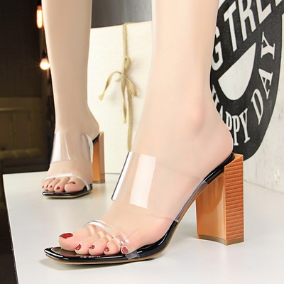 8868-22 han edition fashion female cool slippers wood grain with square head peep-toe with thick with high transparent w