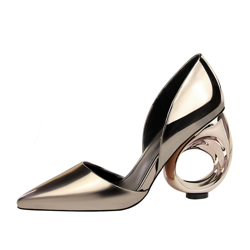 Fashion& simple metal hollowed-out heels