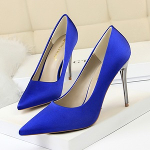 9219-20 European and American fashion contracted wind for women's shoes with high heels satin light mouth pointed s