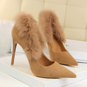 9511-5 han edition maomao high heels for women's shoes with suede shallow mouth pointed sexy nightclub show thin maomao