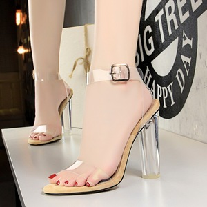 29-3 European and American wind hot summer night club for women's shoes high with circular crystal with peep-toe tr