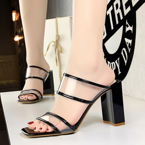The 8868-10 han edition high fashion contracted with thick with square with square head peep-toe transparent one word wi