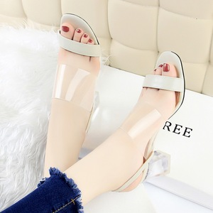 169-5 han edition new fashion summer joker thick with crystal with high with peep-toe transparent words and women sandal