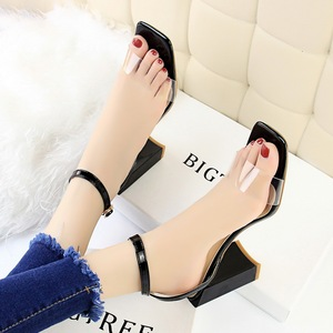 Han edition fashion simple thick with ultra high 8868-21 with party with peep-toe lag transparent shoes sandals, a word
