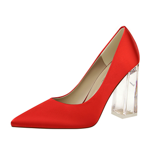 2993-1 han edition fashion with satin transparent crystal with high light mouth pointed sexy heels wedding shoes women&a
