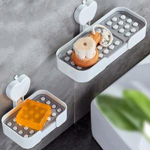 创意浴室卫生间洗脸香皂肥皂盒吸盘壁挂沥水免打孔双层皂托皂碟架