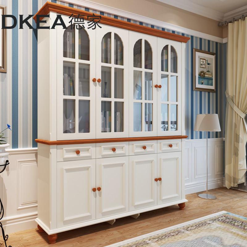 德家家具 地中海书柜四门书橱美式书架组合实木储物柜带门置物架