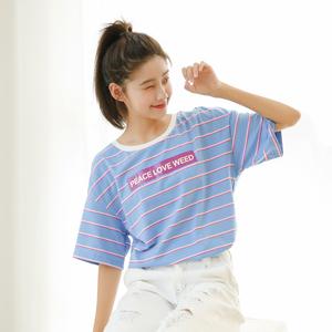 (实拍)新款 韩版宽松条纹后背V领小性感短袖女T恤 9667...