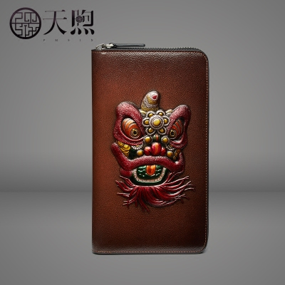 2017 autumn and winter Chinese style leather clutch bag wallet men's personalized carved embossed wallet retro ladies handbag
