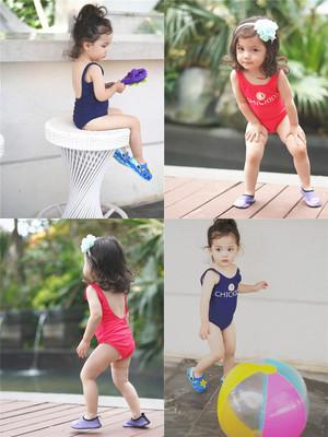 韩国ins儿童泳衣 女童连体露背可爱公主小女孩泳装 亲子泳衣 母女