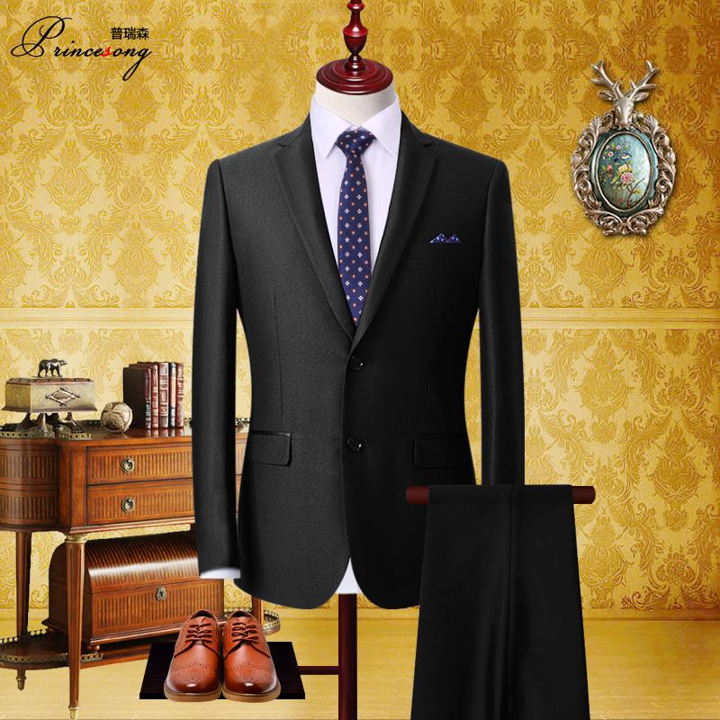 西服套装男士三件套四季修身正装西装可定制伴新郎结婚礼服