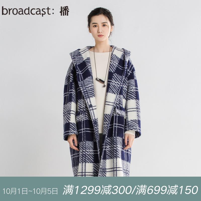 播 25点的夜空 2018冬季新品时尚格纹宽松中长款时尚毛呢大衣女